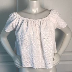 ZARA WHITE CROPPED OFF THE SHOULDER EYELET TOP
